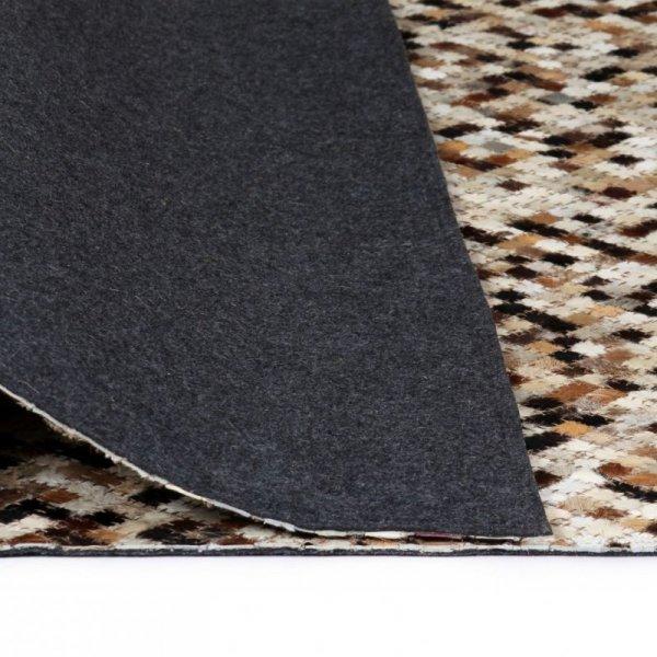 Patchworkowy dywan ze skóry bydlęcej, 80x150 cm, brązowo-biały