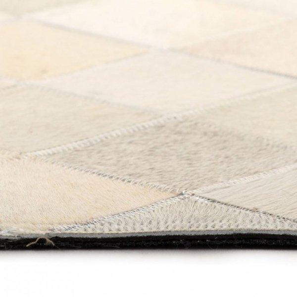 Dywan ze skóry bydlęcej, patchwork w romby, 120x170 cm, szary