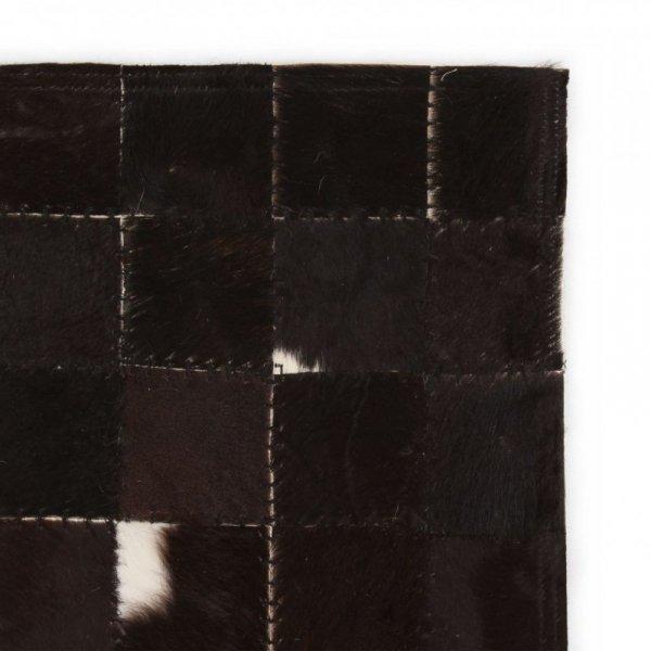 Dywan ze skóry, patchwork w kwadraty, 160x230 cm, czarno-biały