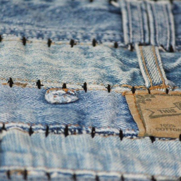 Patchworkowy dywanik z dżinsu, 120 x 170 cm, niebieski