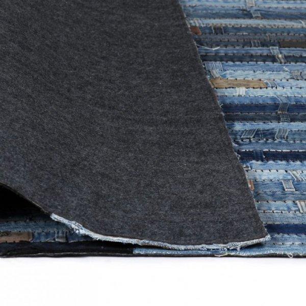 Patchworkowy dywanik z dżinsu, 160 x 230 cm, niebieski