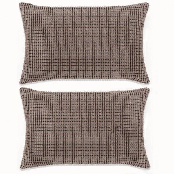 2-częściowy zestaw poduszek, welur, 40x60 cm, brązowy