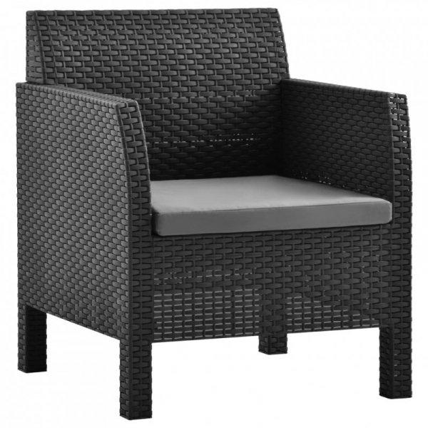 Krzesła ogrodowe z poduszkami, 2 szt., PP, antracytowe