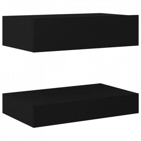 Szafki nocne, 2 szt., czarne, 60x35 cm, płyta wiórowa