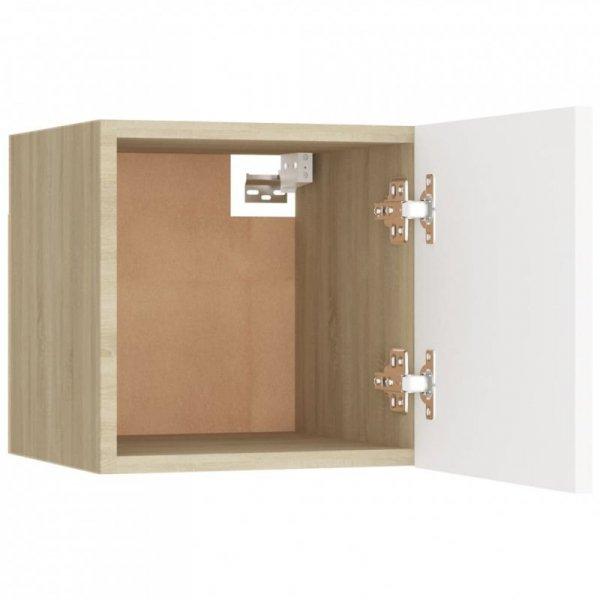 Szafka nocna, biel i dąb sonoma, 30,5x30x30 cm, płyta wiórowa