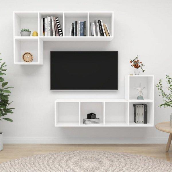 4-częściowy zestaw szafek TV, biały, płyta wiórowa