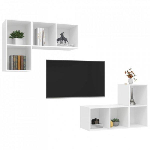 Wiszące szafki TV, 4 szt., białe, płyta wiórowa
