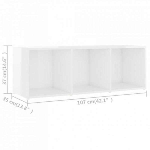 Szafki TV, 3 szt., białe na wysoki połysk, 107x35x37 cm, płyta