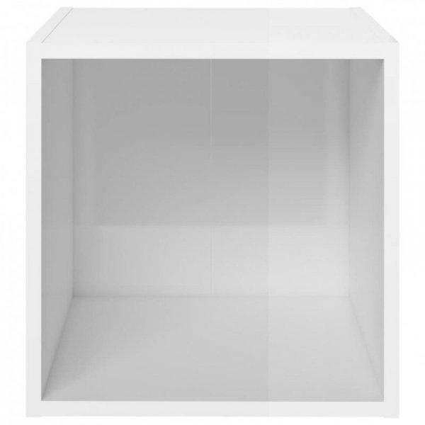 5-cz. zestaw szafek TV, wysoki połysk, biały, płyta wiórowa