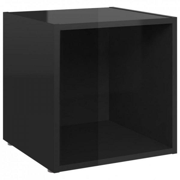 3-cz. zestaw szafek TV, wysoki połysk, czarny, płyta wiórowa
