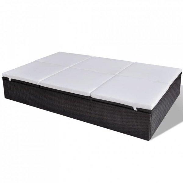 Podwójny leżak z poduszką, polirattan, brązowy