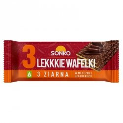 Lekkie Wafelki 3 ziarna w czekoladzie mlecznej SONKO, 36g