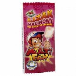 Lizak malinowy bez cukru z 10 witaminami Multifan, 5g