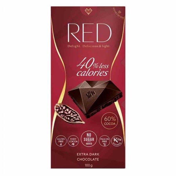Czekolada extra gorzka 60% kakao 40% mniej kalorii RED Delight, 100g