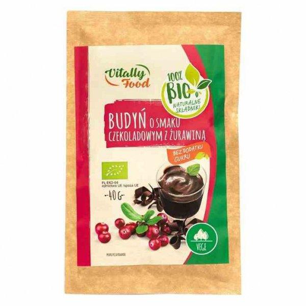 Budyń o smaku czekoladowym z żurawiną bez dodatku cukru Vitally Food BIO, 40g