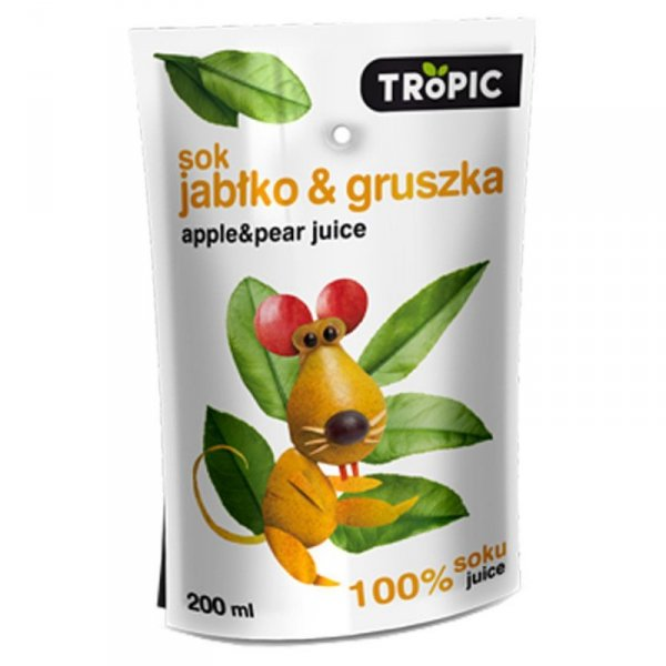 Sok jabłko-gruszka bez dodatku cukru Tropic,  0,2l