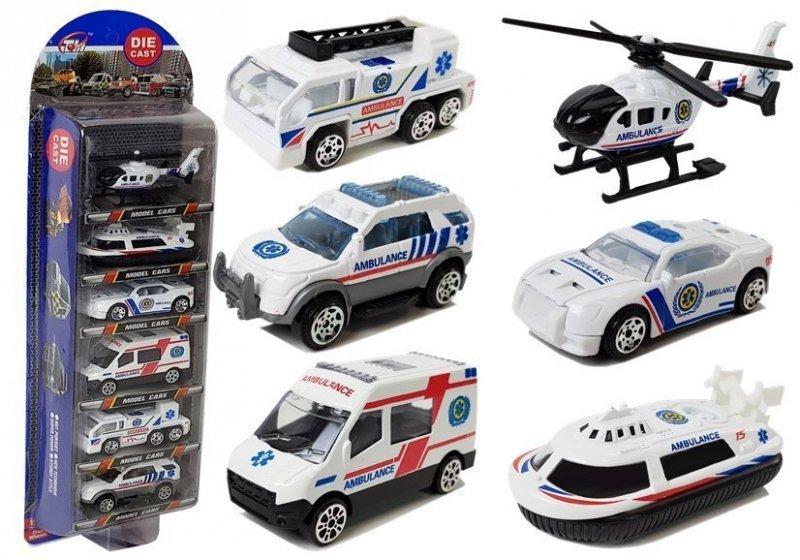 Zestaw Pojazdów Ambulans Pogotowie Resoraki 1:64 6 Sztuk