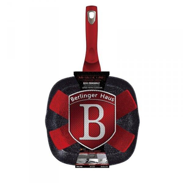 PATELNIA GRANITOWA GRILLOWA 28cm BERLINGER HAUS RED METALLIC LINE BH-1271