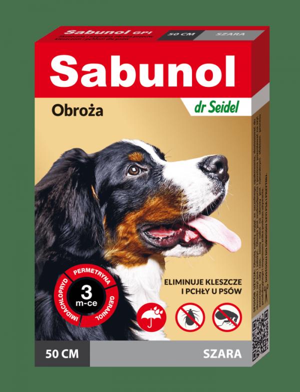 SABUNOL GPI obroża szara przeciw pchłom i kleszczom dla psów 50 cm