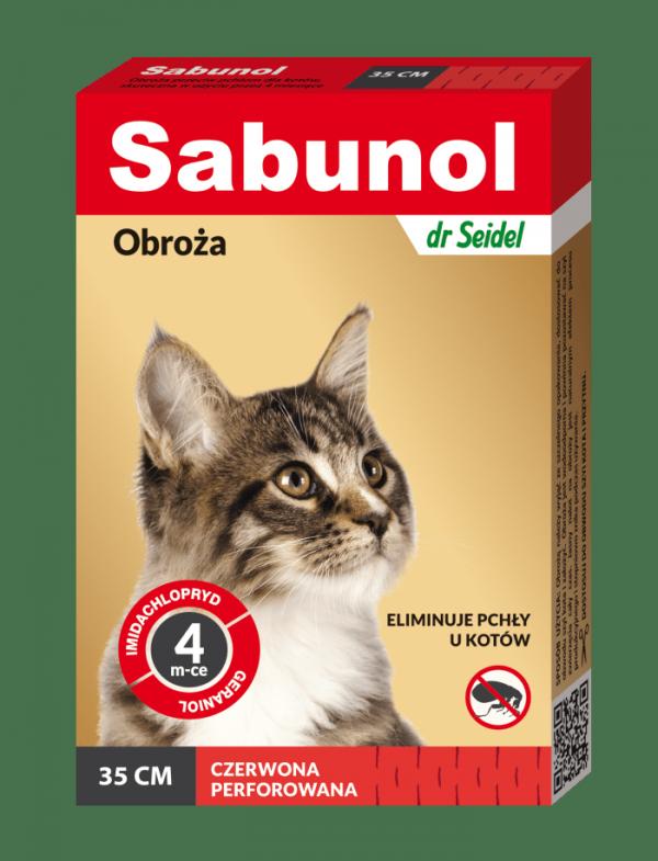 SABUNOL obroża czerwona przeciw pchłom dla kotów 35 cm