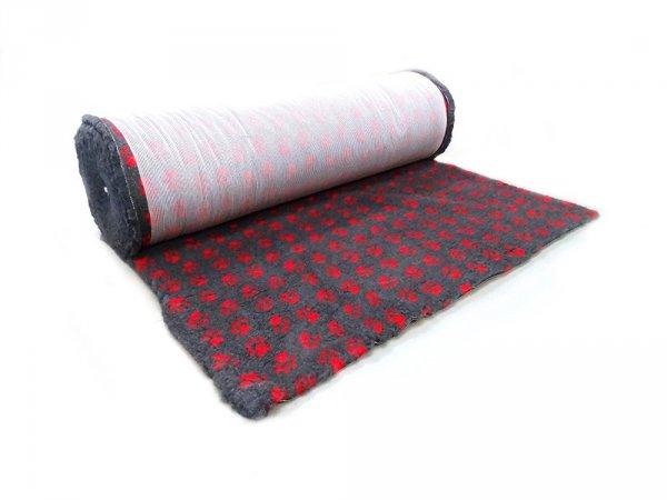 CANIFEL DryBed Posłanie (100x75) Small Paw Grafitowo Czerwony