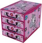 Pudełko SAWANNA 4 szufladki pionowe ZEBRA pojemnik