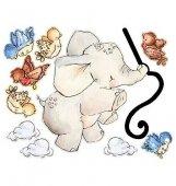 Naklejki Latający słoń i chmurki