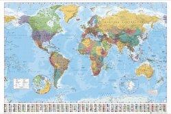Polityczna Mapa Świata - Flagi - plakat