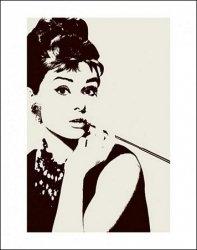 Audrey Hepburn Cigarello - plakat premium