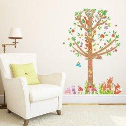 Naklejki Drzewko z Kwiatuszkami i Zwierzątkami