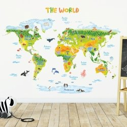 Duże Naklejki Animowana Kolorowa Mapa Świata XL