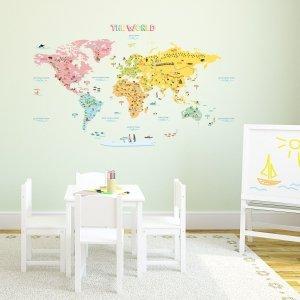 Duża Naklejki  Kolorowa Mapa Świata z Flagami