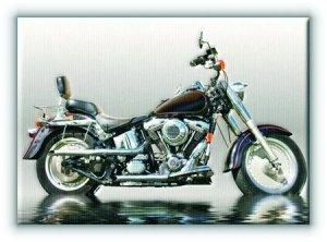 Czarny motocykl - Obraz na płótnie