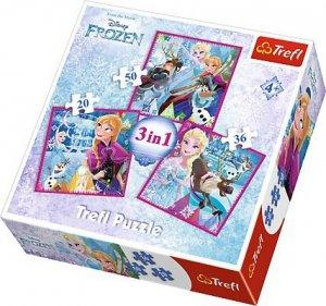 PUZZLE Disney Frozen 3w1 Trefl 34832 Kraina Lodu Elsa
