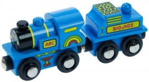 Niebieska lokomotywa z węglarką ABC
