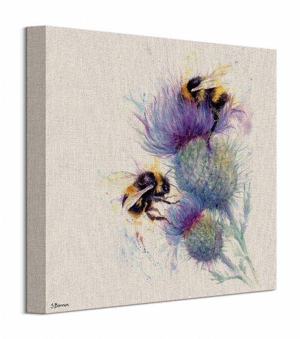 Pszczoły na kwiatach - obraz na płótnie