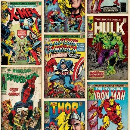 Tapeta Marvel Comics Superheroes Spiderman Iron Man Hulk okładki komiksów