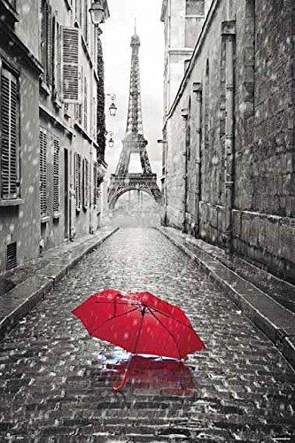 Paryż Wieża Eiffla Czerwona Parasolka - plakat