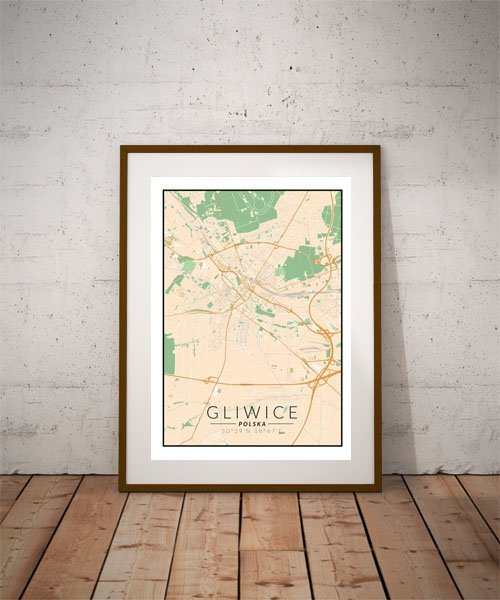 Gliwice, Polska mapa kolorowa - plakat