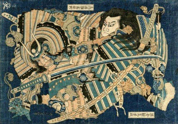 Hokusai, Kamakura no Gengoro Seizing Torinoumi Tasaburo - plakat