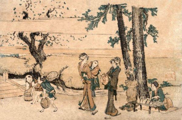Hokusai, Group of Figures near a Brook - plakat