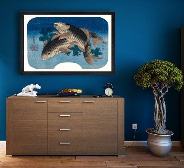 Hokusai, Carp Swimming by Water Weeds - plakat