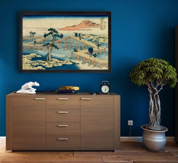 Hokusai, An Ancient Picture of the Eight Part Bridge in Mikawa Province - plakat