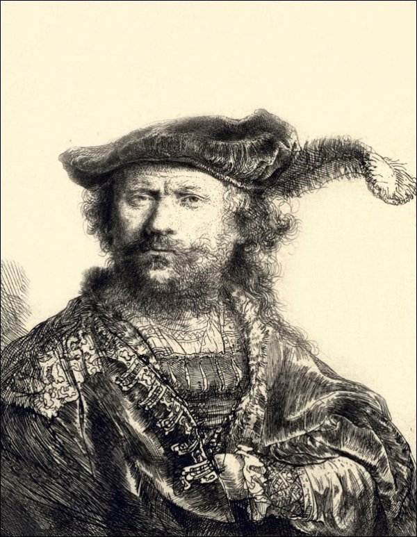 Self Portrait in a Velvet Cap with Plume, Rembrandt - plakat