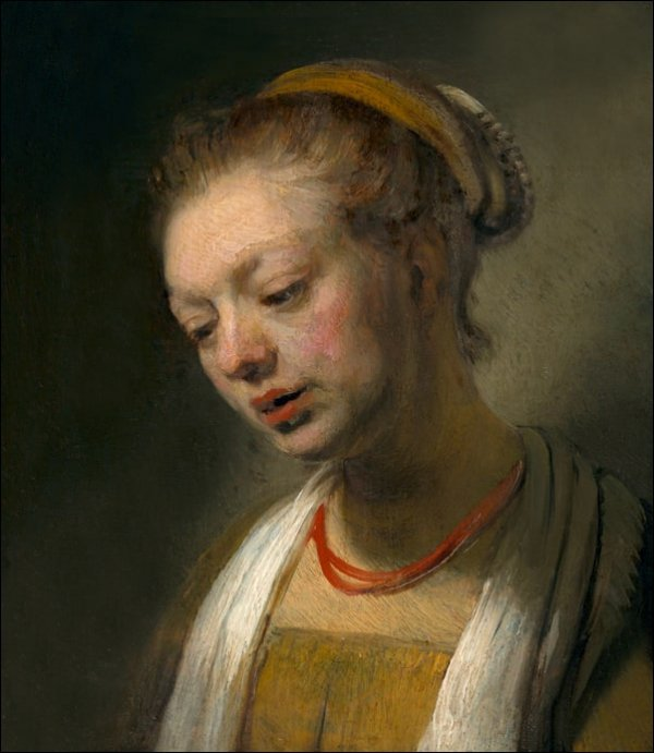 Young Woman with a Red Necklace, Rembrandt - plakat