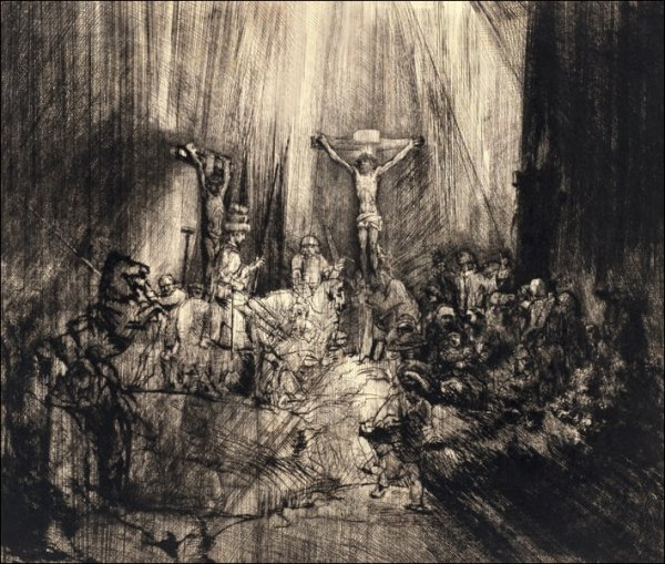 Christ Crucified Between the Two Thieves _The Three Crosses_, Rembrandt - plakat