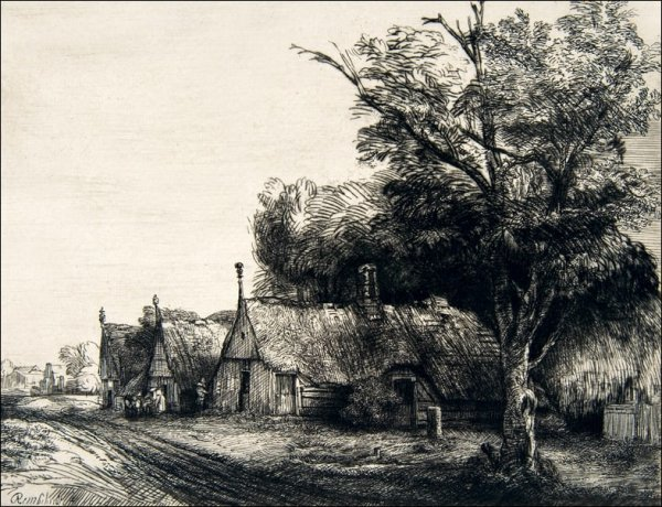 Landscape with Three Gabled Cottages Beside a Road, Rembrandt - plakat