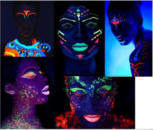 Kredki do twarzy i ciała NEON UV zestaw Pastelowy