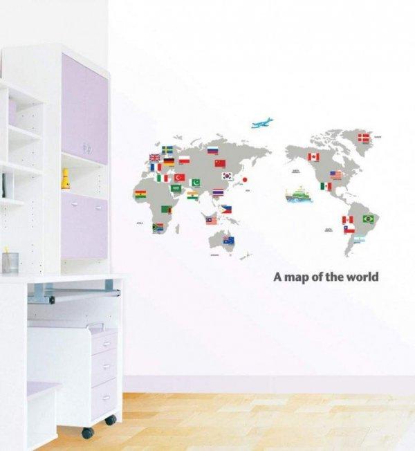 Naklejki Mapa Świata z flagami