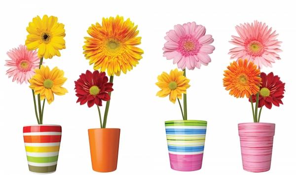 Statyczne naklejki na okno Kwiaty w kolorowych doniczkach
